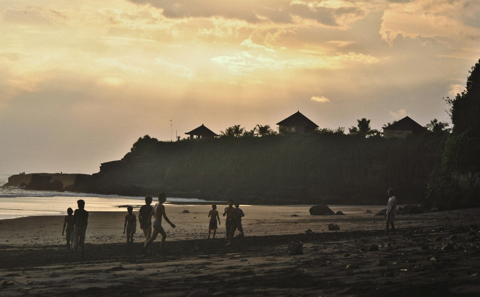 fotball beach sunset bali indonesia